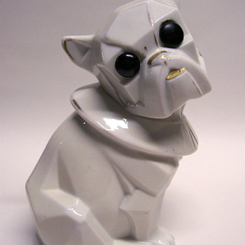 Porcelain Cubist Dog Harlequin Button Eye with String - Animals