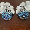 Sparkly, Stunning Vintage SCHIAPARELLI Blue Rhinestone Clip Earrings