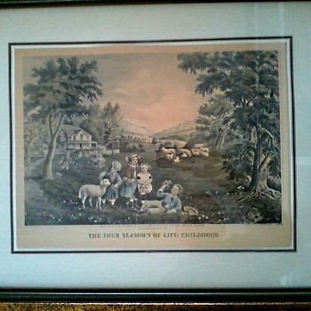 """The Four Seasons of Life"" 1868 Currier and Ives Lithographs / Framed 21""x 17""/ Circa 19th-20th Century"