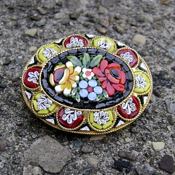Micro Mosaic Brooch - Costume Jewelry