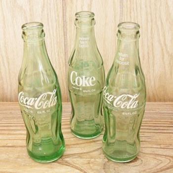 1960's Vintage White Script Hobbleskirt 6 1/2 fl oz. Bottles - Coca-Cola