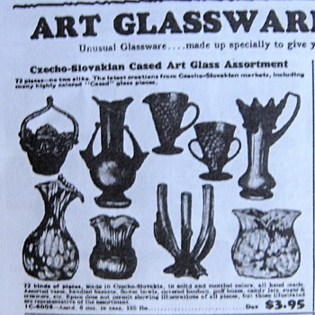 Butler Brothers Catalog Ad - A potential source for Czech glass exports ID - Art Glass