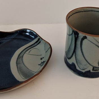 Modern Japanese Pottery Cup/Saucer - whimsical.   - Asian
