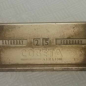 Rare brass desk perpetual calendar. COBETA Airlines. - Advertising
