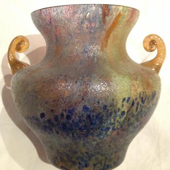 Czechoslovakia Sand Paper Finish Glass Vase with applied Orange Handles - Art Glass