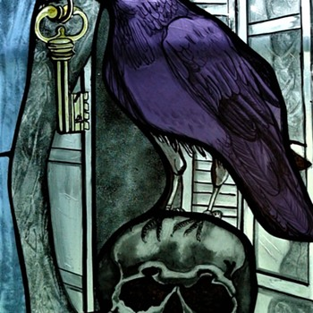 """Stained Glass Edgar Allan Poe """"The Raven"""" By A Local Artist - Art Glass"""