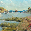 Claude H. Venon Art - 5 Mile River Lighthouse, Rowayton, CT