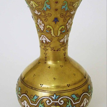 Extraordinary Enameled Vase Islamic Influence Signed - Art Glass