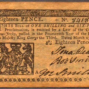 Colonial Currency - Novelty Note (New Jersey) - US Paper Money