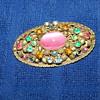 Czechoslavakian colored stone brooch
