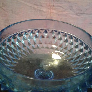 Blue glass dish with pedestal