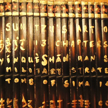 "SUN TZU'S ""Art of War""  Two Bamboo writings,  19"" X 14 1/2""  Eng. and Chinese writing?"