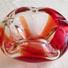 Blown Glass Bowl Ashtray Red Clear