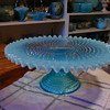 Fenton blue opalescent cake stand