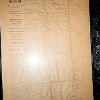 Custer Massacre Account 1876 South Dakota Territory Paper
