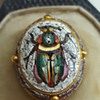 Cased antique micromosaic beetle gold stickpin. Kyratised!
