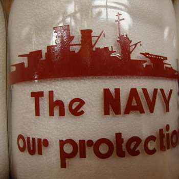 Kitsap Dairy (Bremerton, Wash.) war slogan...THE NAVY..OUR PROTECTION - Bottles