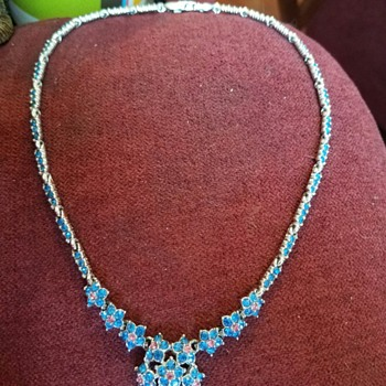 Vintage Delicate Necklace in Bright Blues and Pink Rhinestones by Bogoff - Costume Jewelry