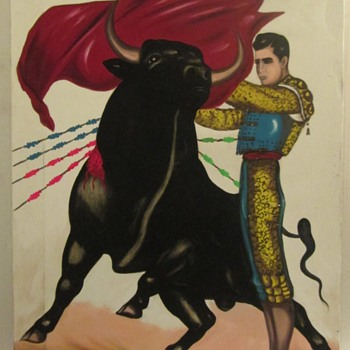 Bullfight acrylic painting