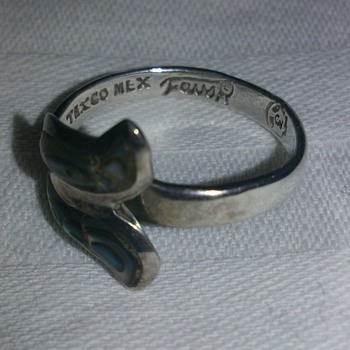 Eaglemarked Taxco Mexico Abalone ring probably 1950's - Fine Jewelry