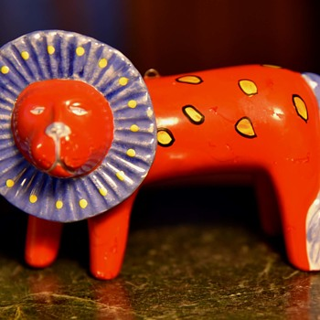 Red Lion with Yellow Polka-dots and a Purple Mane - Animals