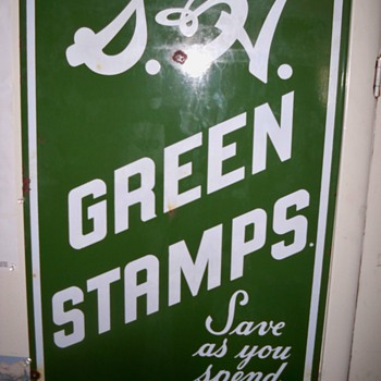 porcelain S&H green stamps sign - Advertising