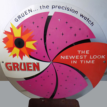 1960's GRUEN Watches LIGHTED STORE DISPLAY w Revolving Light - Advertising