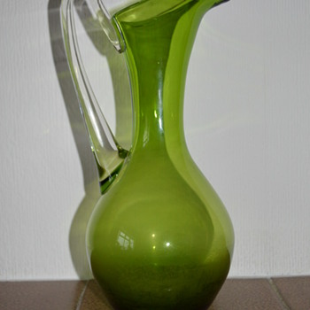 Glass pitcher - Whitefriars green glass jug from the 1960s - Glassware