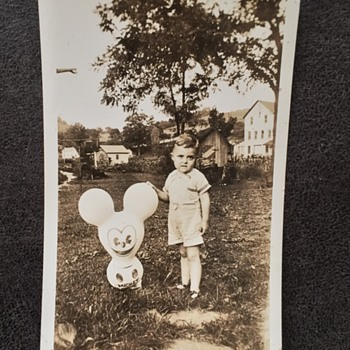 Mickey Mouse Toy? Balloon? Photograph with boy - Photographs