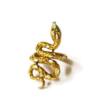 Vintage Signed ART Turquoise Enamel Snake Wrap Ring - Costume Jewelry