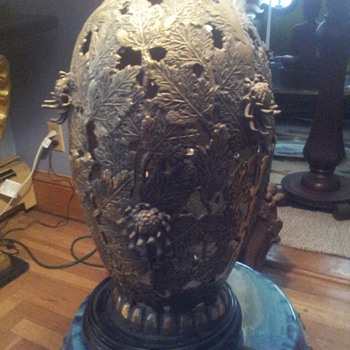 Pair of Japanese Brass/Bronze Urn Lamps