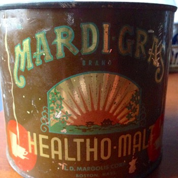 Mardi-Gras Healtho-Malt Tin Can  - Advertising