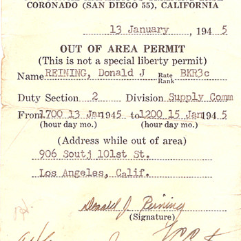 WWII Out of Area Permit