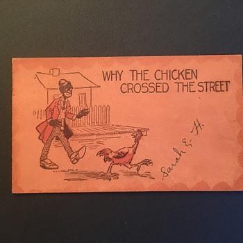 Racist post card 1907 chicken joke - Advertising