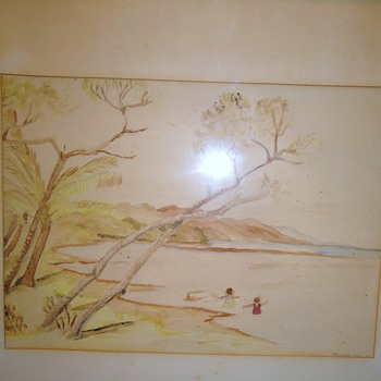 Watercolor from 1944, by? need help,  14 x 10 1/2 inch without frame from Gospel Thrift
