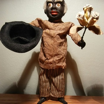Very Early German Black Man Squeek Toy - Toys
