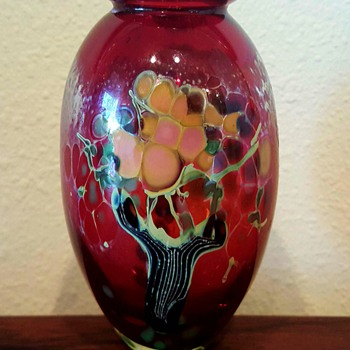 Barbara Bendzunas Art Glass Vase Tree Motif - Art Glass