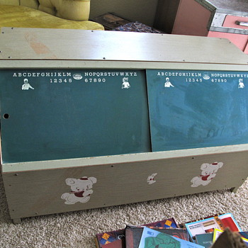 Vintage Toy Holder and Desk - Furniture