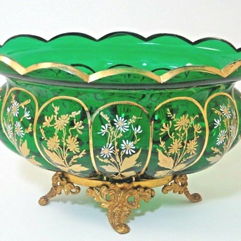 ANTIQUE VICTORIAN BOHEMIAN GREEN FLORAL ENAMELED JARDINIERE BOWL - Art Glass