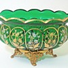ANTIQUE VICTORIAN BOHEMIAN GREEN FLORAL ENAMELED JARDINIERE BOWL