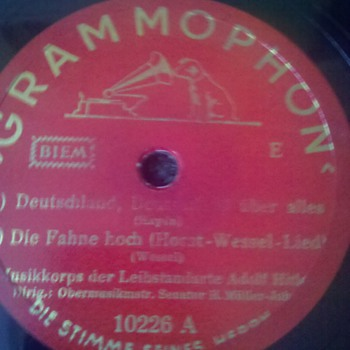 """RARE WWII Nazi Germany """"Horst Wessel Lied"""" 78 rpm aka """"Die Fahne Hoch"""" - Military and Wartime"""