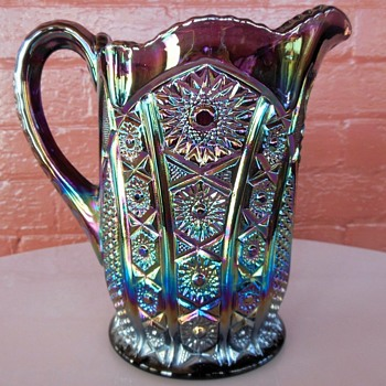 Indiana Glass Iridescent Amethyst Carnival Heirloom Paneled Daisy 54 oz Pitcher - Glassware