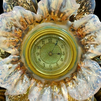 Art Nouveau Bohemian Art Glass Floriform Stand with German Hamburg Clock - Art Glass