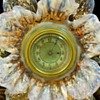 Art Nouveau Bohemian Art Glass Floriform Stand with German Hamburg Clock