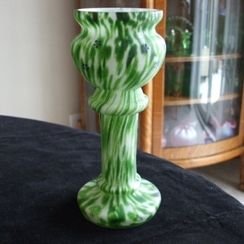 Mint Green on White WELZ Pedestal/Trophy Vase - Art Glass