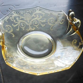 Yellow Depression Glass Bon Bon Tray - Glassware
