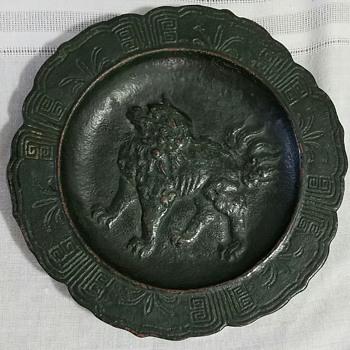 Cast iron foo dog plate - Asian