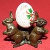 Vintage Bronze Rabbit Trio Egg Holder