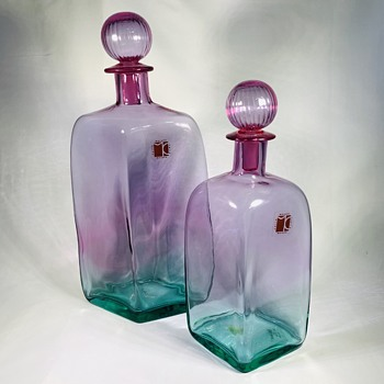 Pair of 1970's Carlo Moretti Murano decanters - Art Glass