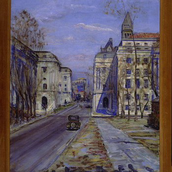 """Internal Revenue Building"", PWAP Painting, 3/1/34 Disposition: J. Edgar Hoover, FBI Director, Artist: Dorsey Doniphan - Fine Art"